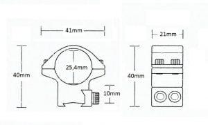 "Matchmount 9-11mm /2pc double screw/ 1"" Low"