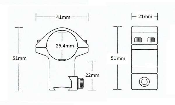 """Matchmount 9-11mm /2pc double screw/ 1"""" High"""