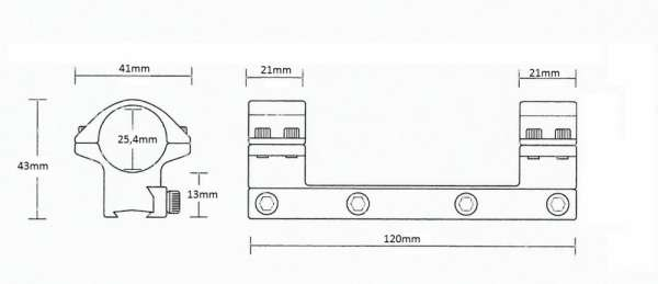 "Matchmount 9-11mm /1pc double screw/ 1"" Medium"