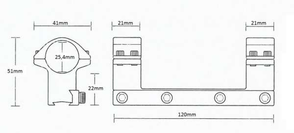 """Matchmount 9-11mm /1pc double screw/ 1"""" High"""
