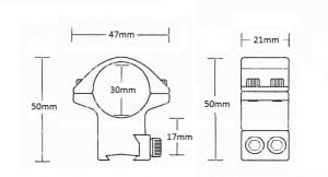 Matchmount 9-11mm /2pc double screw/ 30mm High