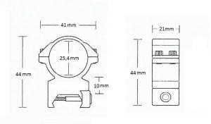 "Matchmount Weaver /2pc double screw/ 1"" Med"