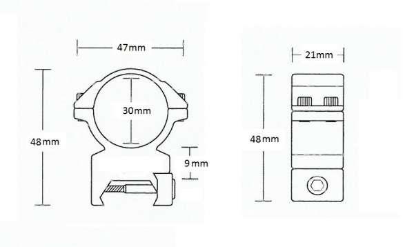 Matchmount Weaver /2pc double screw/ 30mm Med