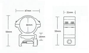Matchmount Weaver /2pc double screw/ 30mm High