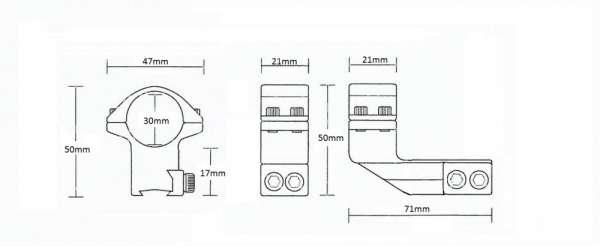 """9-11mm Reach Forward 2"""" /2pc/ 30mm High"""
