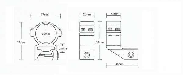 """Weaver Reach Forward 1"""" /2pc/ 30mm High"""