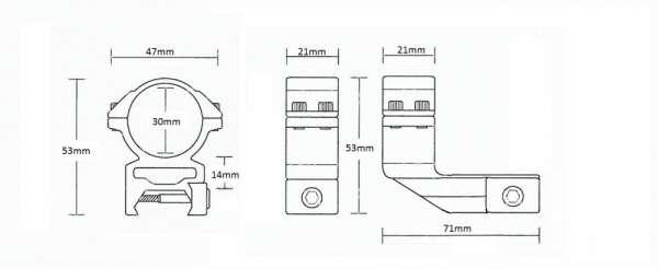 """Weaver Reach Forward 2"""" /2pc/ 30mm High"""