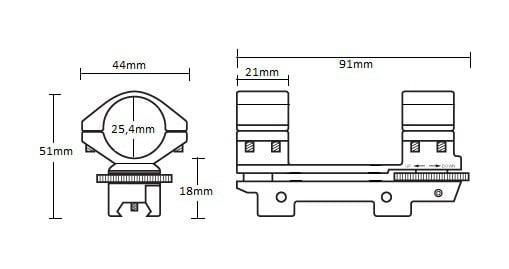"9-11mm Adjustable Match Mount /1pc/ 1"" High"