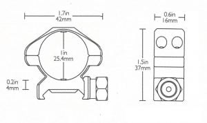 """Precision Steel Ring Mounts Weaver (2pcs /1"""" Low, With Nut)"""