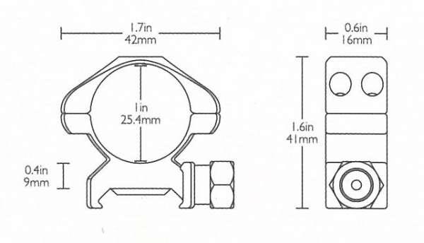 "Precision Steel Ring Mounts Weaver (2pcs /1"" Medium, With Nut)"