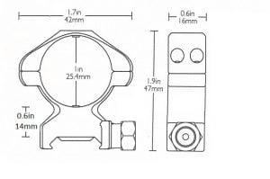 """Precision Steel Ring Mounts Weaver (2pcs /1"""" High, With Nut)"""