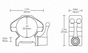 """Precision Steel Ring Mounts Weaver (2pcs /1"""" Low, With Lever)"""