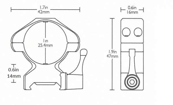 """Precision Steel Ring Mounts Weaver (2pcs /1"""" High, With Lever)"""