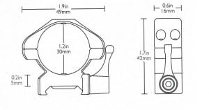 Precision Steel Ring Mounts Weaver (2pcs /30mm Low, With Lever)