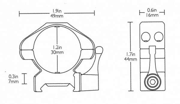 Precision Steel Ring Mounts Weaver (2pcs /30mm Medium, With Leve