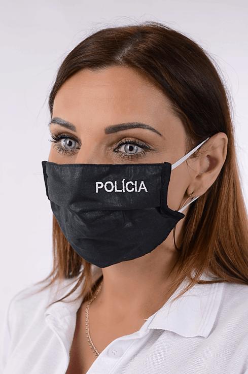 Rúško čierne antibakteriálne POLÍCIA-biele písmo