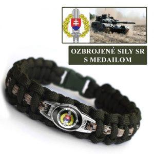 Paracord náramok na prežitie s medailónom Ozbrojené