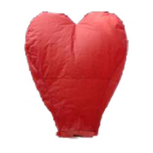 Lampion šťastia srdce červené