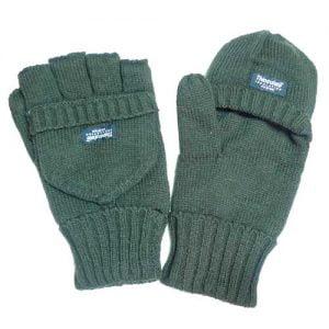 Rukavice pletené bez prstov s príklopkou -- zelené
