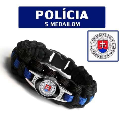 Paracord náramok na prežitie s medailónom POLÍCIA